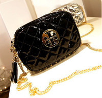 2013 New Summer Chains Small Shoulder Bag Zipper Solid Color Coin Purse PU Leather Light Surface Diamond Plaid Bag n Stock