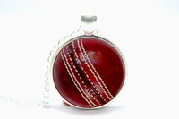 10pcs/lot Cricket Ball Necklace Glass Cabochon Necklace