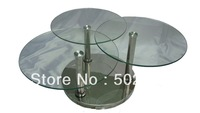 2013 new modern swivel coffee table stainless tempered glass for home furniture