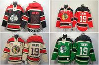 New Chicago Blackhawks hooded Jerseys #19 Jonathan Toews Old Time Hockey Hoodies Sweatshirts Black skull green red beige M--3XL