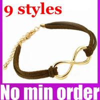 Antique Women Infinity Symbol Cross Leather Strap Bracelet Bowknot Bracelet - no minimum order