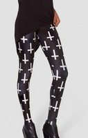 EAST KNITTING x-024 HOT SEXY 2014 fashion Cross of St Peter Black Leggings women galaxy digital printed pants free shipping