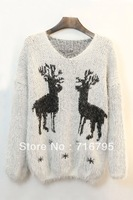 2013  Mujeres Moda Caliente Vestido Reindeer Graphic Mohair Sweater,Black, white,Free Shipping