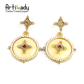 Artilady Vintage White Pearl Earrings Gold Drop Crystal Earrings  2014 New Brand Fashion Earring  Jewelry