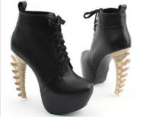 2014 new arrival sexy dinosaurs bone heels ankle boots lace up women pumps strange heels. platform PU leather flock upper 028