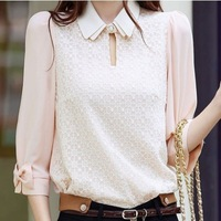 New 2014 Free shipping womens lace large size chiffon blouse shirt collar Lady chiffon lace vestido blusa ashion leisure base