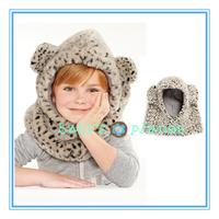 2015 Retail new fashion winter leopard print baby hats fur baby headwear warm bear ear Hoodie Neck Warmer kids scarf neckerchief