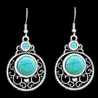 Vintage Look Antique Silver Plated Victoria Flower Pendant Crystal Turquoise Dangle Earrings E034