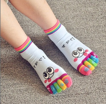 Candy color cotton socks creative cute cartoon socks five fingers socks expression