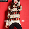 Trend Knitting  Women's Warm Sweaters Winter Coat fashion Loose O-Neck deer printing thicken pullover  4 Colors