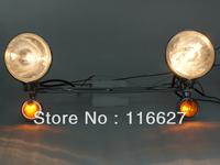 NEW Chrome Driving /passing  Lamp Spot Light Amber Turn Signals Light Bar for Suzuki Honda Yamaha Kawasaki Harley Custom