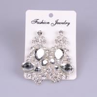 Glam Full Rhinestone and Glass Mirror Drop earrings 2013 Newest Design Bridal Wedding Long Big Earrings,12pcs/lot