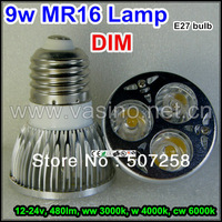 hot sale led mr16 lamp, 9 watt 110v 220v 230v e27 e26 base.  white green blue red color, 10pcs/lot free shipping