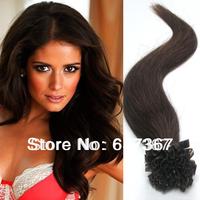 "18"" 20"" 22"" #4 Medium Brown Peruvian Hair Pre Bonded Nail U Tip Keratin Glue 100% Remy Silky Soft Human Hair Extensions"