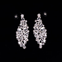Wholesale Innovative Luxury Crystal Rhinestone and Glass Mirror Long Dangle Earrings,Bijoux Gifts For Lover/Girlfriend,12pcs/lot