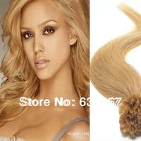 "18"" 20"" 22"" #24 Light Honey Blonde 50g Sraight  Nail Keratin-tipped Indian Virgin Remy Human Hair Extensions U tip Dropshipping"