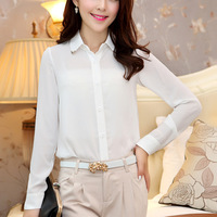 Free shipping chiffon shirt with long sleeves and contracted business attire large size ladies cardigan render shirt blouses