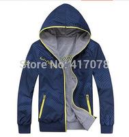 wholesale 2014spring The new men's sports jacket jacket hooded jacket men on both sides to wear a jacket