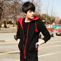 2013 autumn men's outerwear slim casual male sweatshirt cardigan with a hood spring and autumn