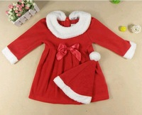 2013 new free shipping christmas clothes for children girl's xmas dress christmas hat christmas decoration