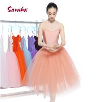 Sansha Professional Ballet Dance Tutu Hard Organdy Platter Skirt Dress 2color free shipping