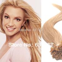 "Brazilian Straight Hair 18"" 20"" 22"" #27 Honey Blonde 50g Cheep Nail Tipped U Tipped Virgin Human Hair Extensions Drop shipping"