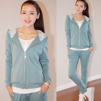 2014 New Fashion Spring Autumn Cotton Leisure Sportswear Sports Suit For Women Clothing Set Free Shipping
