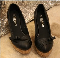 Free shipping 2013 Spring National Wind patent leather round foam bottom sets foot slope with high-heeled bow