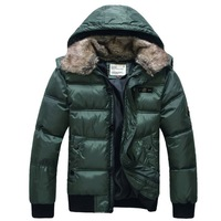 Men's Polyester Winter Clothes Hood Coat Warm Wool Collar Outerwear 4 Colors S283
