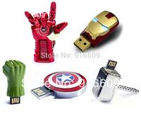 CW004 Avengers Iron Man Thor Hammer Captain America Shield Hulk 4GB 8GB 16GB 32GB USB 2.0 Flash Drive Memory stick