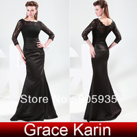 Free Shipping!Noble Sexy GK 3/4 Sleeve Lace Satin Ruffle Ball Gown Cocktail Prom Party Dress Black CL4524