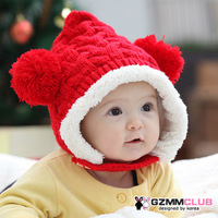 Free Shipping Plus velvet winter baby hat child knitting wool cap baby ear protector cap knitted beanie hat winter hat