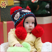 Free Shipping Child hat bear style hat baby hat line cap winter hat baby double ball style ear protector cap 95g