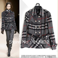 Free Shipping 2013 New Famous Brand Designer Fashion Slim  Winter Overcoat  Luxury Woolen Outerwear Long-Sleeve Plaid Coats