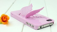fashion phone case phone bag Angel's Wing case for apple iphone 4 4s 5 can stand Free Shipping