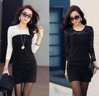 Women ladies Lace dress,plus size slim casual dress,women sexy long sleeve night-club dress S M L XL Legging 2013 autumn spring
