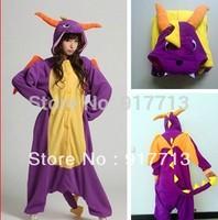 Hot!!! 2013 New Spyro Dragon Cute Pajamas Anime Cosplay Pyjamas Costume Hoodies Adult Onesie Dress S M L XL