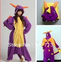 Hot!!! 2013 New Spyro Dragon Cute Pajamas Anime Cosplay Pyjamas Costume Hoodies Adult Onesie Dress S M L XL