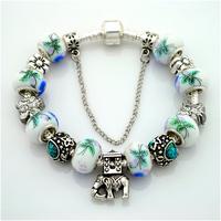 2014 New Arrival High Quality 925 Silver Bracelet,Lampwork Glass Beads European Charm Bracelets For Women,PA030