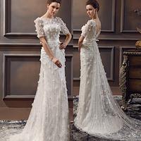 Elegant Lace Strap Curved Neckline Discount Cheap Wholesale Designer Vintage  Ivory Bridal Gown elegant Wedding Dresses