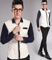 2014 Spring autumn men smart shirts fashion brand splicing slim fit Long Sleeve shirts with welt pocket 2 color