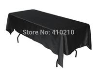 Black Color Satin Rectangular Table Cloth Size is 147cm*304cm
