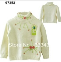 Female child sweater 100% turtleneck cotton sweater knitted sweater