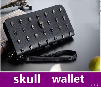 Женщины wallet Длинный pu leather purse clutch vintage punk skull rivets wallet Смотрите ...