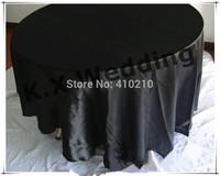 "Black Color Satin Table Cloth In 90"" Round Diameter"