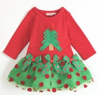 Retail Fall Dresses New Fashion 2013 Long Sleeve Girl Christmas Dress Clothes Baby Girls Tutu Dress