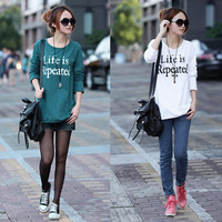 New 2014 autumn-summer fashion plus size women clothing t shirt  punk style loose tops tee clothes Long sleeve letter T-shirt