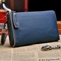 Business Men's Handbags 2014 New Arrivals Designer Day Clutches For Men Wristlets Genuine Leather Wallet Blue/black/Yollow Color