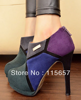 New Street mix match unique boots thin heels round toe boots martin boots high-heeled shoes single shoes fashion