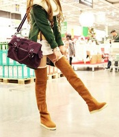 Gorgeous Suede Women Flat Heel Over the Knee Boots,Office/Party/Evening Warm Women Winter Over Knee Boots